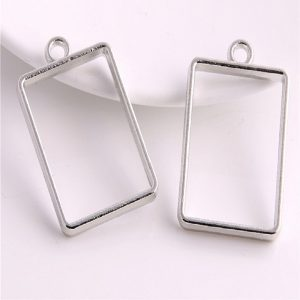 Silver Rectangle Pendant Blank Frame