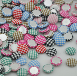 Gingham Fabric Covered Round Flatback Button