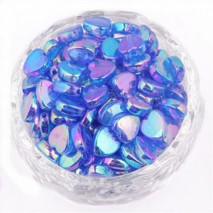 Blue Acrylic Transparent Heart Beads