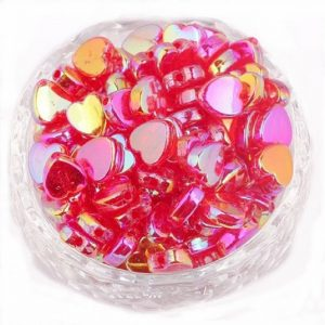 Fuchsia Acrylic Transparent Heart Beads
