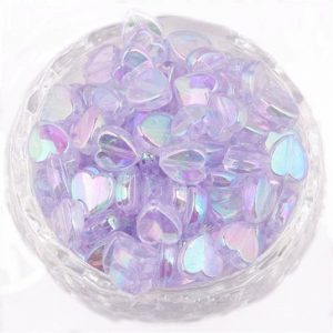 Lilac Acrylic Transparent Heart Beads