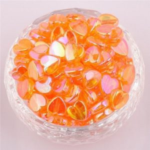 Orange Acrylic Transparent Heart Beads