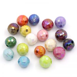 Mixed Colour Faceted Acrylic Beads