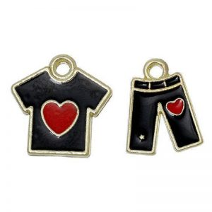 Black Gold Plated Enamel T-Shirt & Pants With Red Heart Charm