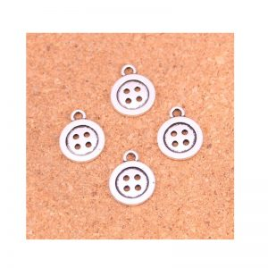 Button Silver Alloy Charm