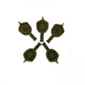 Vintage Antique Bronze Hand Mirror Charm