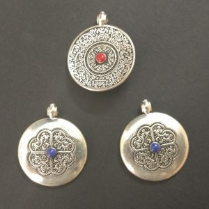 Antique Silver Alloy Round Dual Side Pendant Charms