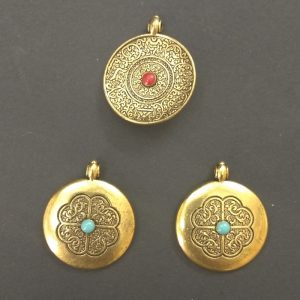 Antique Gold Alloy Round Dual Side Pendant Charm