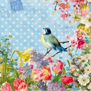 Mixed Flowers With A Blue Bird Decoupage Napkin