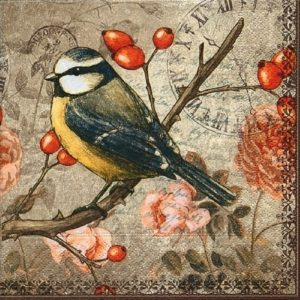 Black With Yellow Bird On Branch Decoupage Napkin