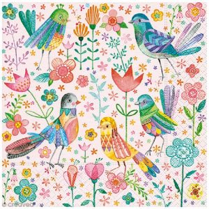 Magical Birds And Flowers Decoupage Napkin