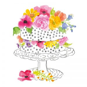 Cake With Flowers Decoupage Napkin