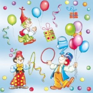 Party Blue Clowns Decoupage Napkin