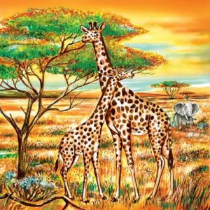 Giraffes With Elephant Decoupage Napkin
