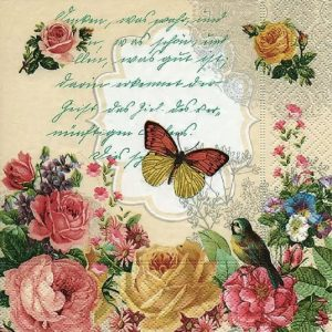 Butterfly With Roses Decoupage Napkin