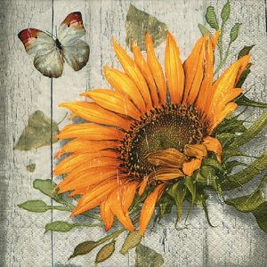 Sunflower With Butterfly Decoupage Napkin