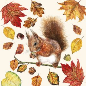 Squirrel With Leaf Decoupage Napkin