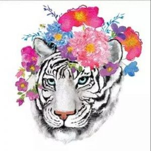 Tiger With Flower Decoupage Napkin