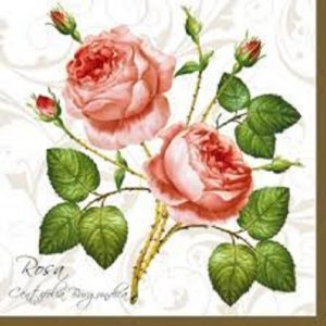 Twin Roses With Leaf Decoupage Napkin