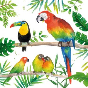 Tropical Birds Decoupage Napkin