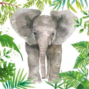 Tropical Elephant Decoupage Napkin
