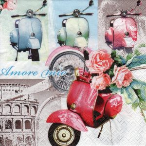 Vespa With Flowers Decoupage Napkin