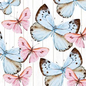 Pink And Blue Butterflies Decoupage Napkin