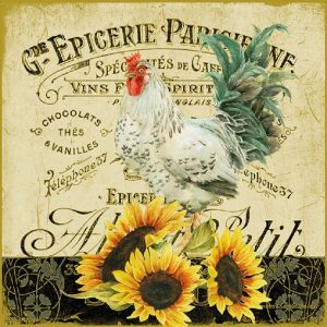 Rooster And Sunflowers Decoupage Napkin