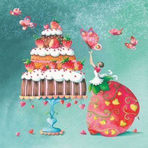 A Girl With Strawberry Cake Decoupage Napkin