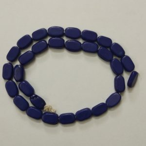 Dark Blue Flat Oval Glass Beads