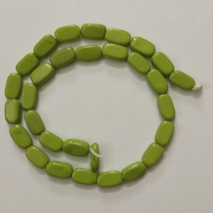 Light Green Flat Oval Glass Beads