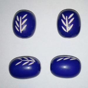 Dark Blue Oval Shape Resin Beads