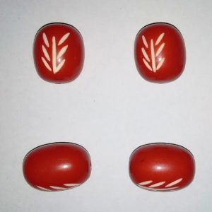 Red Oval Shape Resin Beads