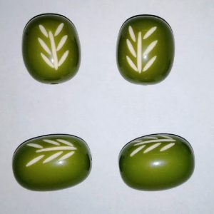 Green Oval Shape Resin Beads
