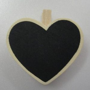 Mini Heart Shape Chalkboard With Wooden Clothespin Clip