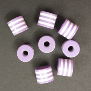 Acrylic Cylinder Shape Purple Beads