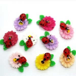 Ladybug on Flower Resin Embellishment