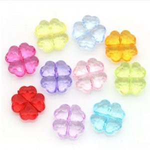 Mixed Colour Transparent Four Leaf Clover Shape Acrylic Beads