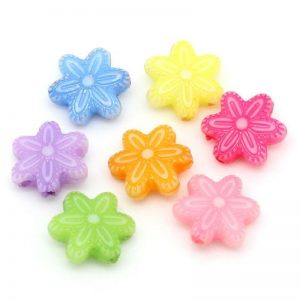 Mixed Colour Flower Shape Acrylic Beads