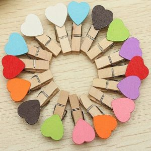 Heart Wooden Clothespin Clips