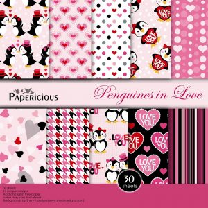 Papericious Designer Edition Penguins In Love Paper Pack