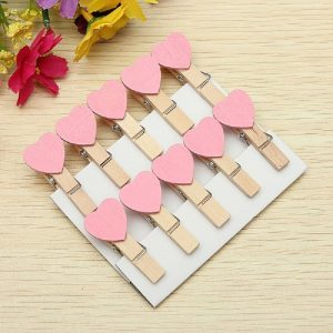 Pink Heart Wooden Clothespin Clips