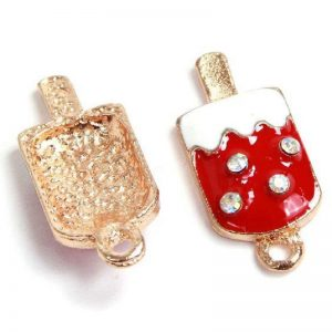 Red Enamel Ice Cream Pendant Charms With Rhinestone