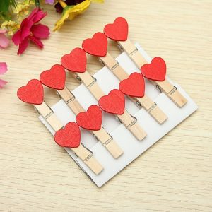 Red Heart Wooden Clothespin Clips