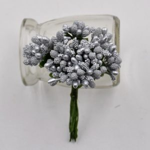Silver Artificial Berry Stamen Bunch