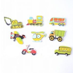 Mixed Transport Theme Wooden Buttons