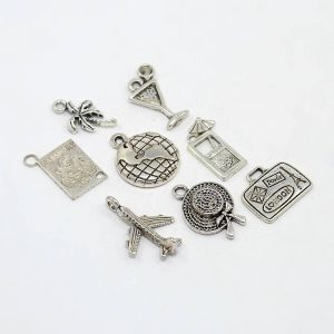 Travel Holiday Theme Silver Alloy Pendants Set