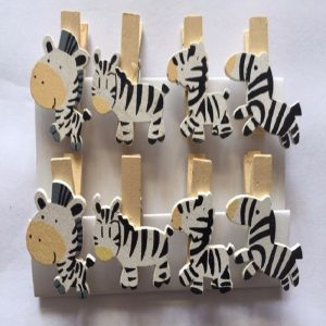 Zebra Wooden Clothespin Clips