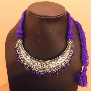 Crescent Shape Pendant And Purple Rope Necklace