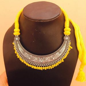 Crescent Shape Pendant And Yellow Rope Necklace
